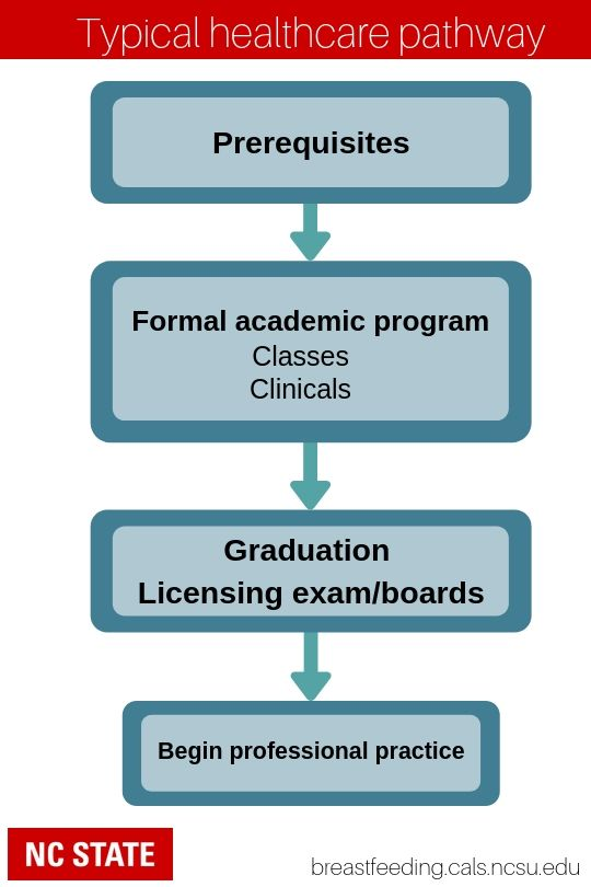 Graphic illustrating typical healthcare education pathway. Shows first taking prerequisites, then enrolling in a formal academic program including classes and clinicals. Next graduation and taking a licensing exam or board certification. Finally, it shows beginning professional practice.